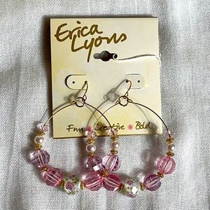 Erika Lyons Pink Beaded Hoop Earrings NWT